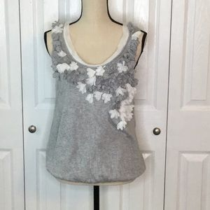 Anthropologie Gray Tank with cascading flowers M